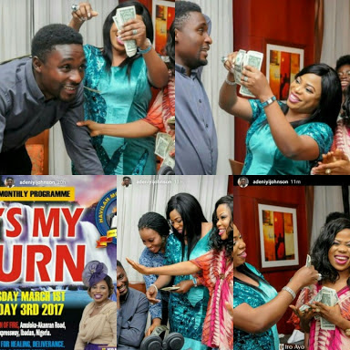 Adeniyi Johnson & Seyi Blessed With Dollars By His Spiritual Mother