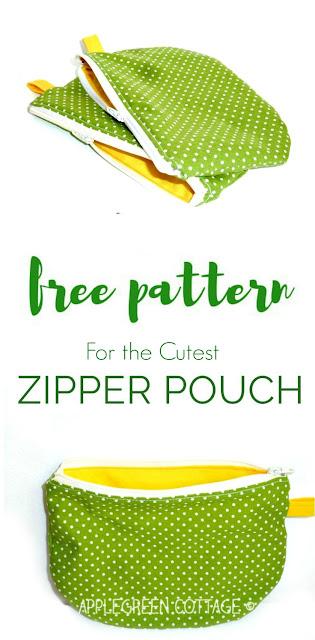 Free PDF Printable Template - My Polka-Dot Zipper Pouch - AppleGreen