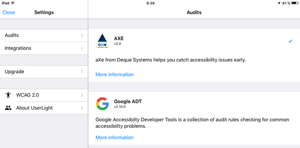 Pantalla Settings de Mobile Web Accessibility Checker. Permite seleccionar aXe 2.0 y Google ADT v2.10.