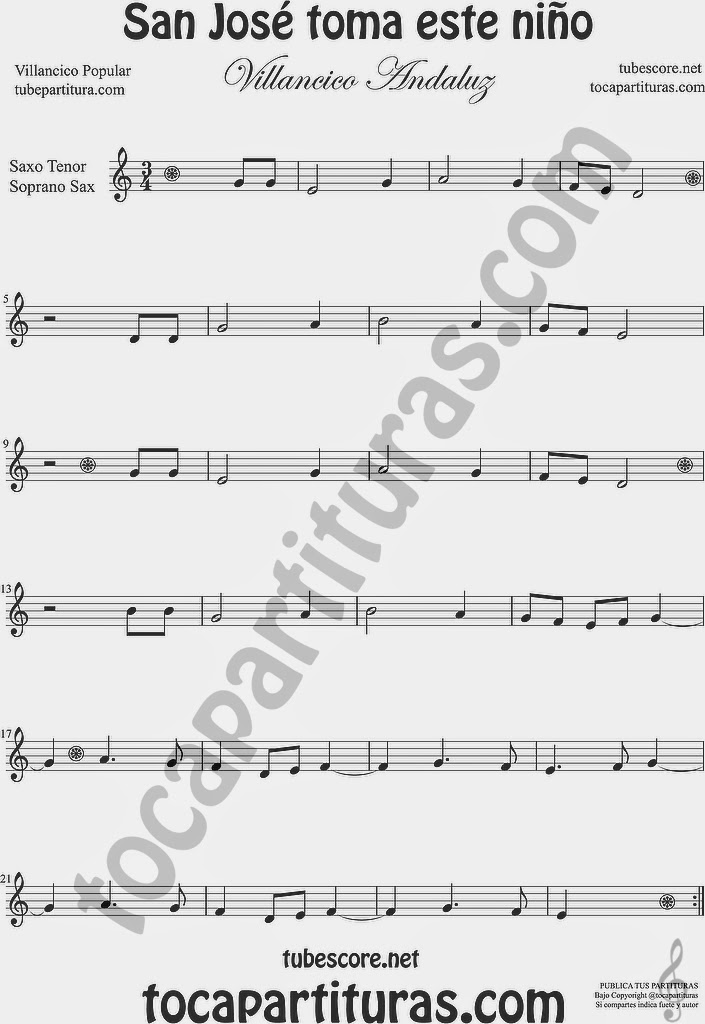 San José toma este niño Partitura de Saxofón Soprano y Saxo Tenor Sheet Music for Soprano Sax and Tenor Saxophone Music Scores