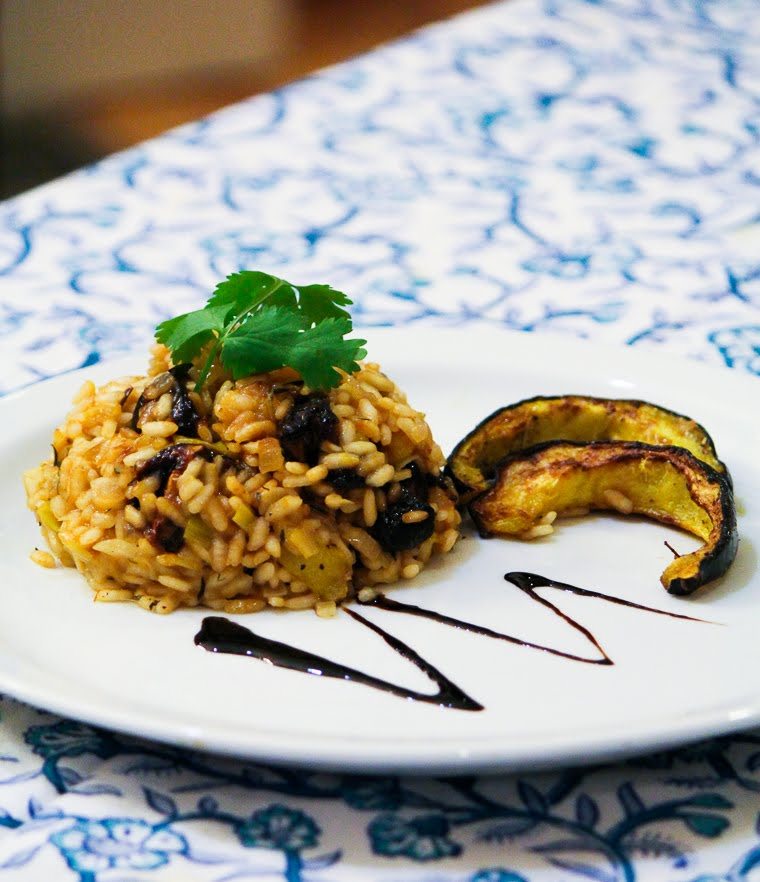 Eat like a Hollywoo food critic with this acorn squash and portobello mushroom risotto