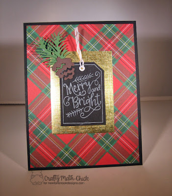 Merry & Bright plaid tag card by Crafty Math Chick | Joyful Tags stamp set and Pines & Holly and Tags Times Two die set by Newton's Nook Designs