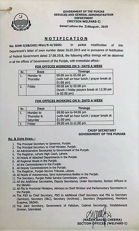 NOTIFICATION REGARDING REVISED OFFICES WORKING HOURS OF GOVERNMENT OF THE PUNJAB