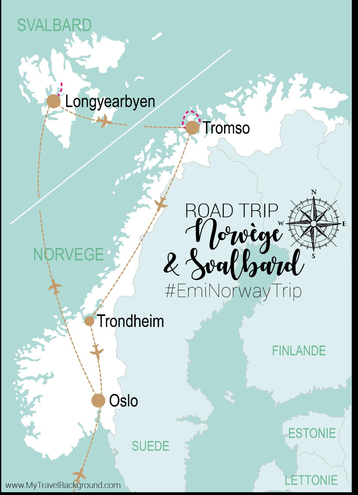 My Travel Background : 13 jours en Norvège et au Svalbard : itinéraire du road trip et infos pratiques - Carte du road trip