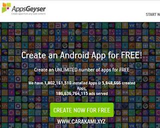 membuat aplikasi dengan appgeyser