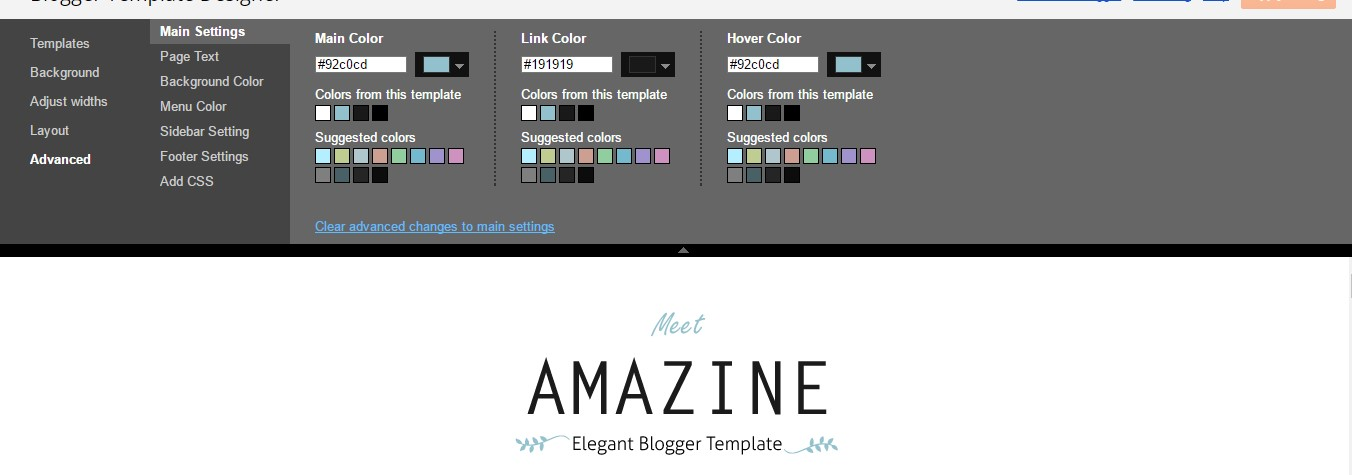 Amazine Blogger Template Setting Options Image