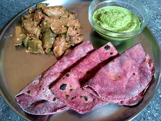 Beetroot Wheat Phulkah, Brinjal masala, Curry leaves chutney