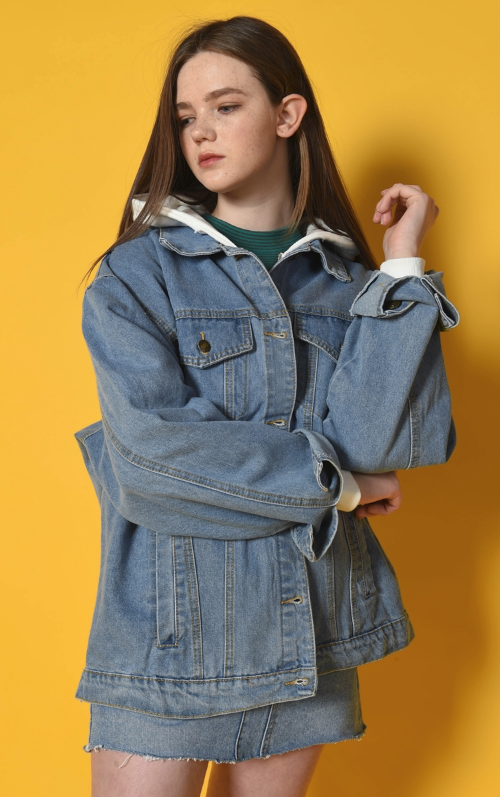 Drop Shoulder Loose Fit Denim Jacket