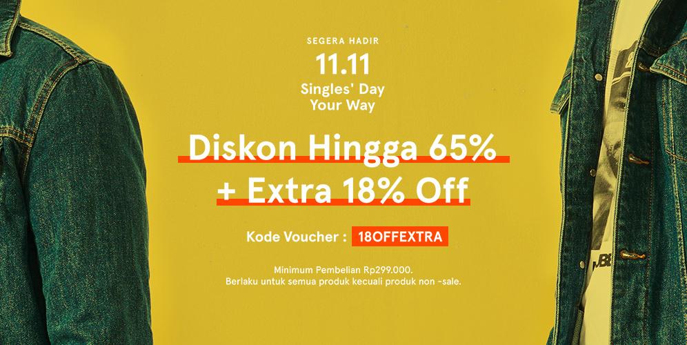 Zalora - Promo Event 11.11 Diskon s.d 65% + Extra 18% Off (11 Nov 2018)