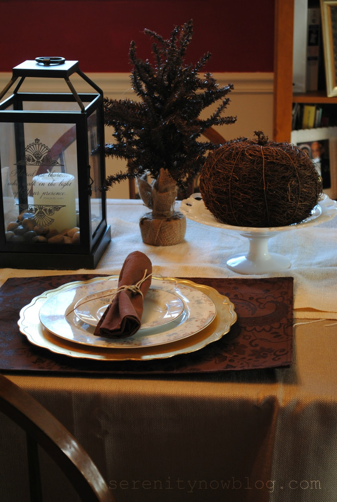 Serenity Now: My Inexpensive Thanksgiving Table Decor