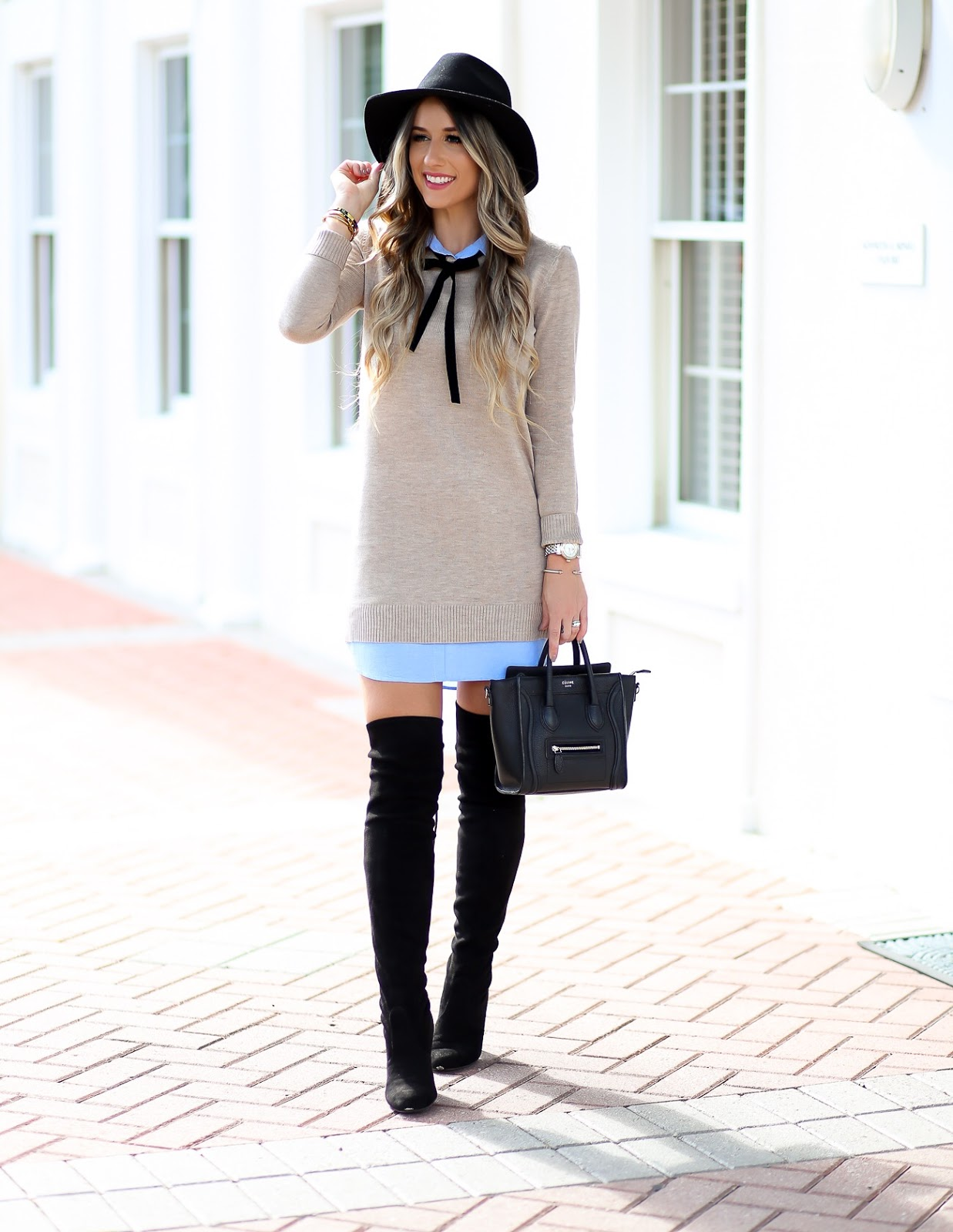 Black and White Sweater Dress