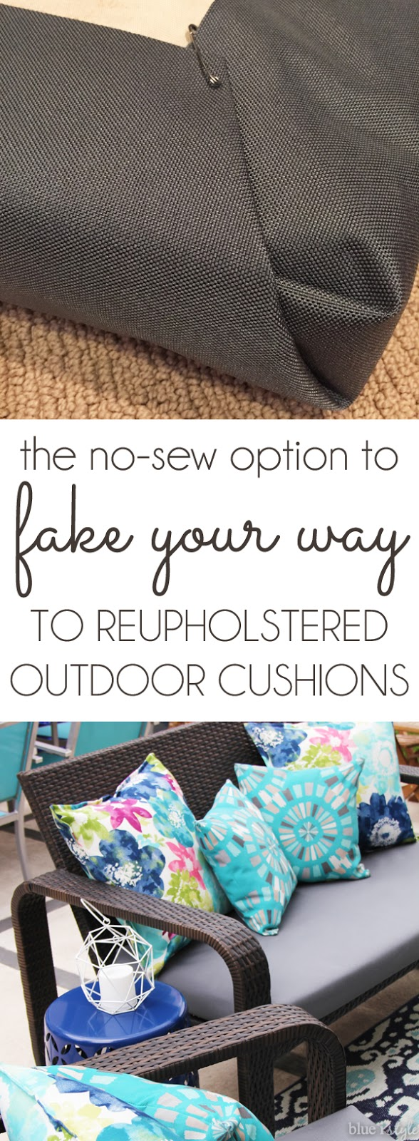 No-sew recover outdoor cushions