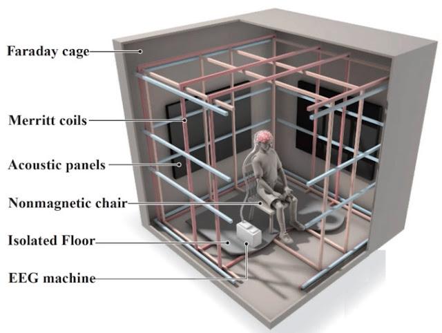 Ilustração da câmara de teste de magnetorecepção humana da Caltech