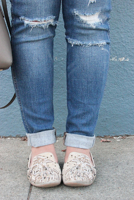 Madewell Rip and Repair Jeans and Sam Edelman Loafers