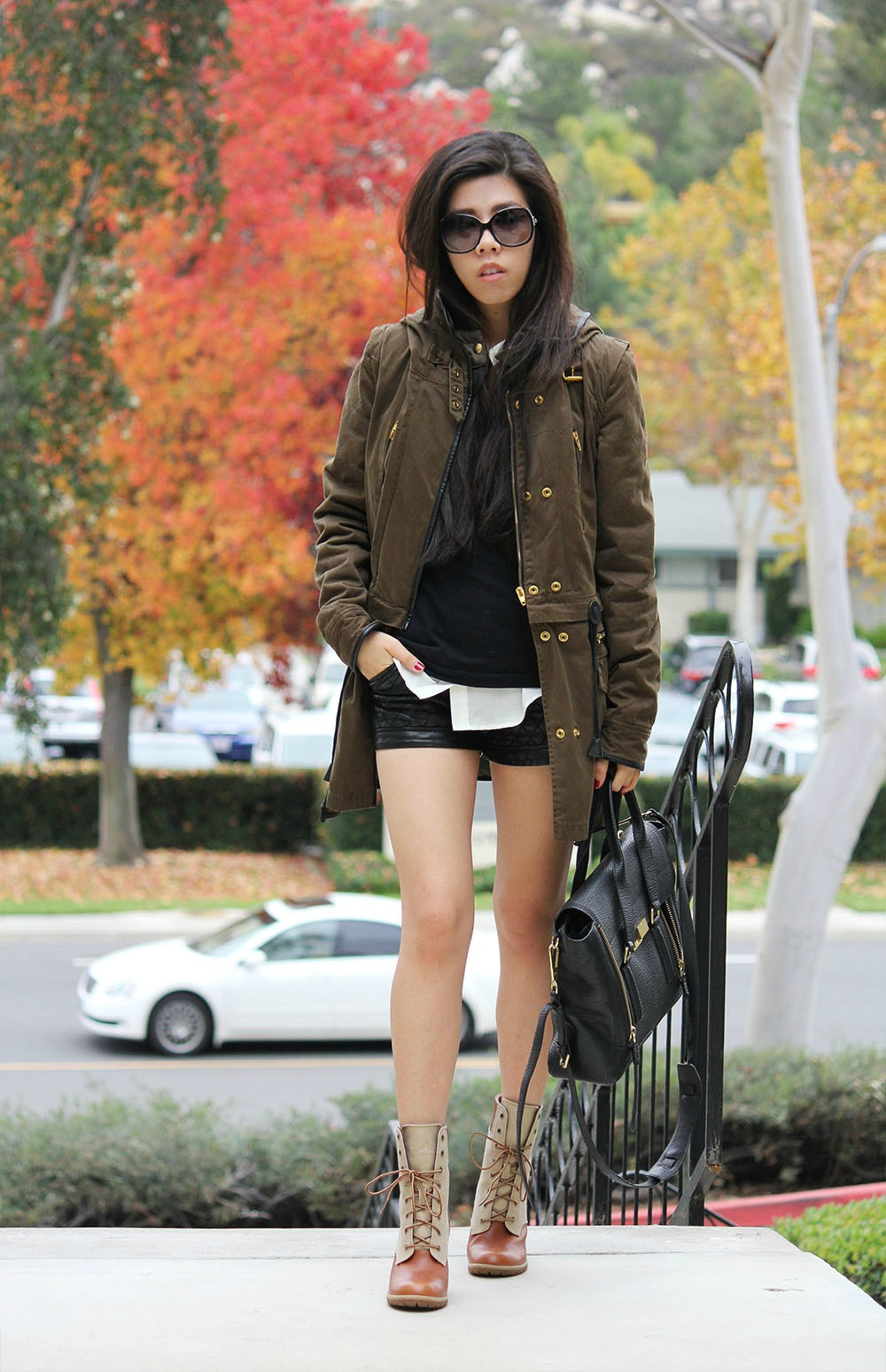 Adrienne Nguyen_Casual Look_What to Wear to School_Utility Jacket_Parka with Black Leather Shorts