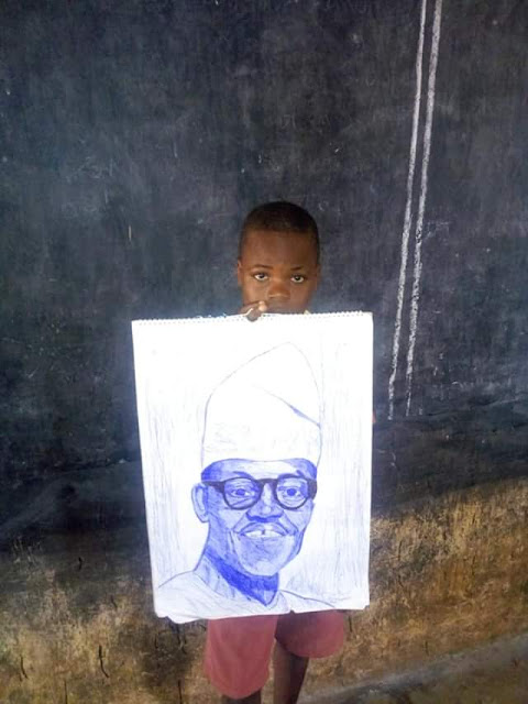 Photos: Primary school pupil hailed on social media for sketching President Buhari, Sanwo-Olu with a pen