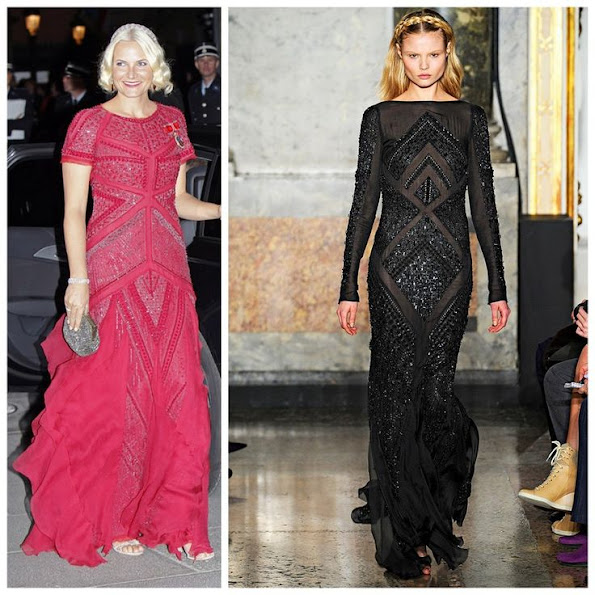 Crown Princess Mette-Marit of Norway wearing a red Emilio Pucci gown