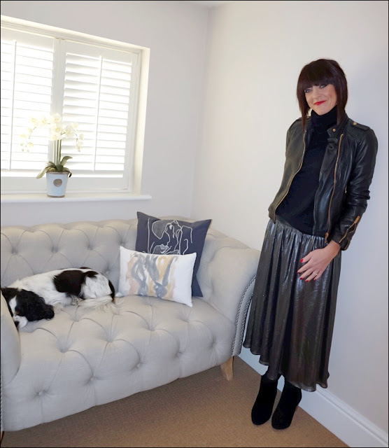 My Midlife Fashion, Charlotte Tilbury Red Carpet Red Lipstick, primark polo neck, zara leather biker jacket, zara metallic midi skirt, mango block heel ankle boots