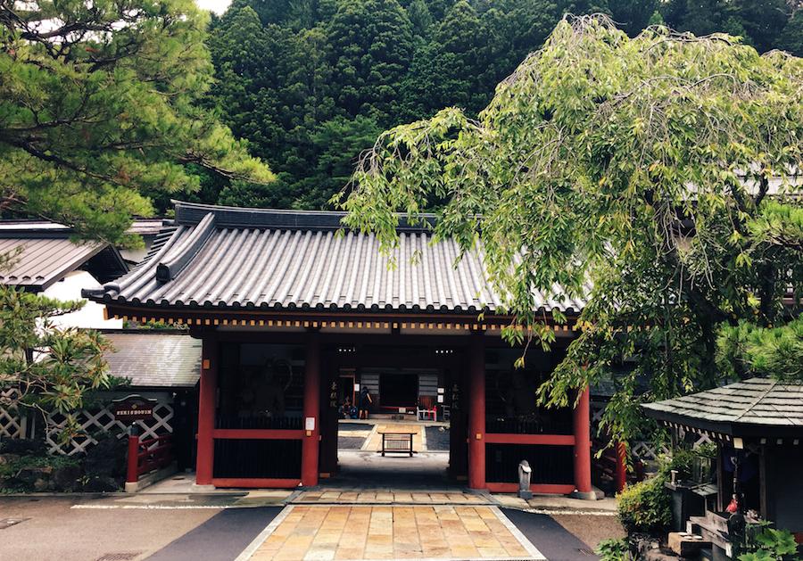 The exterior of our lodging, Sekishoin Ryokan Shukubo temple stay in Koyasan Japan