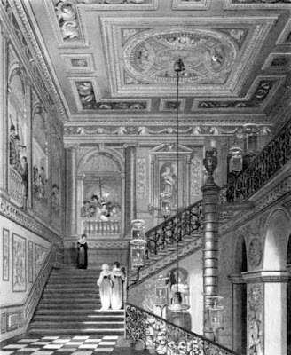 The Great Staircase, Kensington Palace, from The History of the Royal Residences by WH Pyne (1819)