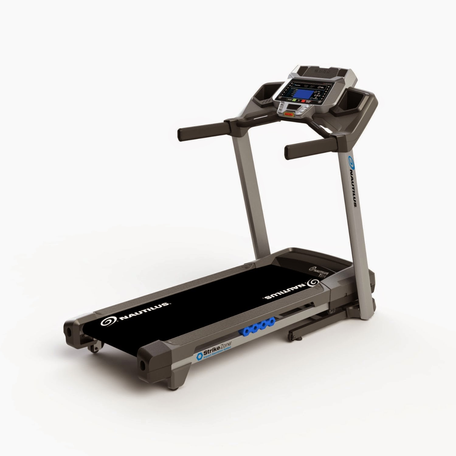 Nautilus T614 Treadmill, review features plus compare with T616, folding deck, cushioned deck, 0-12 MPH, 2.75 CHP, 22 programs, 0-12% incline, 0-12 MPH, blue backlit LCD display, acoustic chambered speakers, MP3 input, USB charging port & data exchange, performance tracking