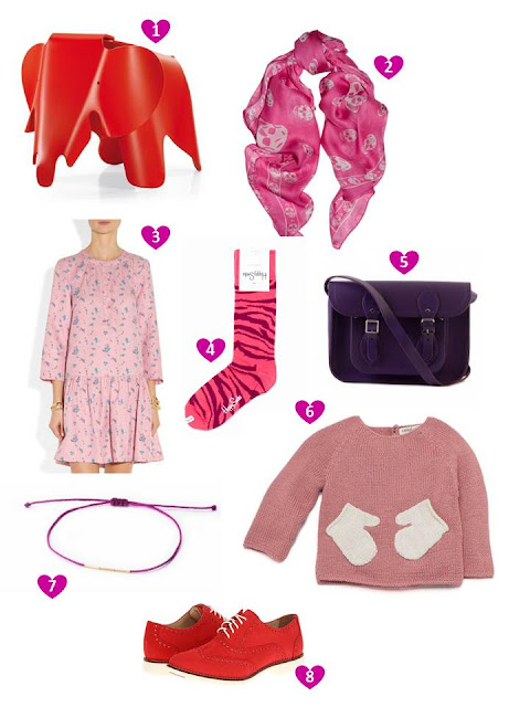 Pretty things in pink, purple and red