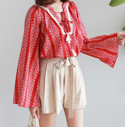 Patterned Tasseled Drawstring Detail Blouse