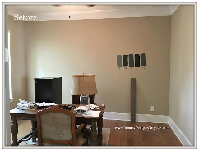 Home Office Makeover- Beige Walls-Before-From My Front Porch To Yours