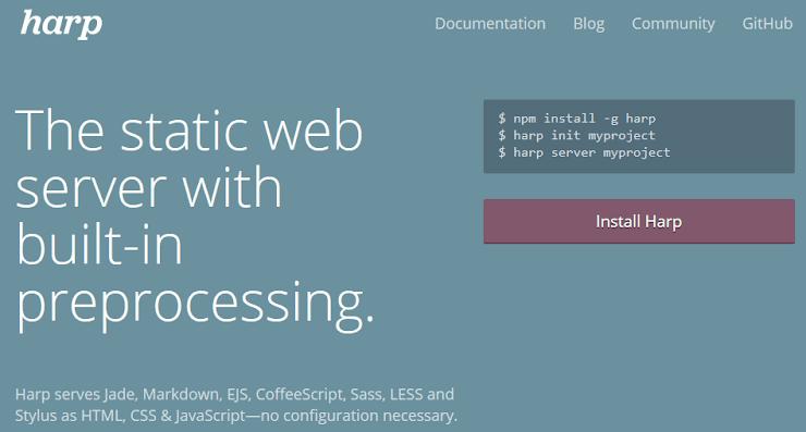 Harp static website publishing service