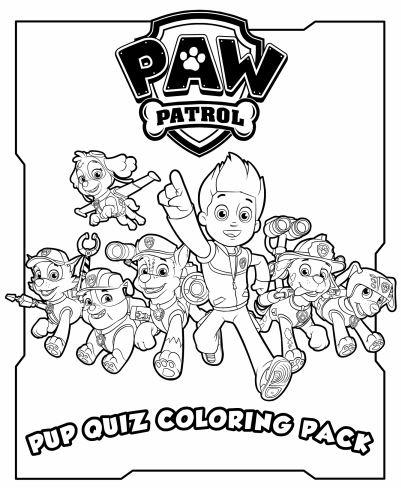 Hojas para Colorear de Paw Patrol para Imprimir Gratis.