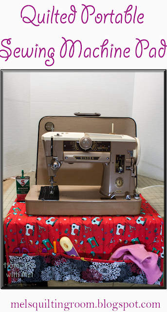 quilted portable sewing machine pad with storage