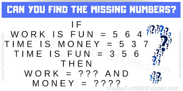 IF Work is Fun = 5 6 4, Time is Money = 5 3 7, Time is Fun = 3 5 6, THEN Work = ??? and Money = ????