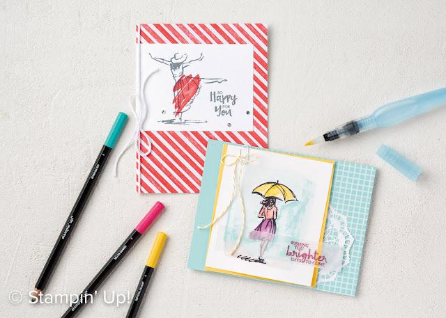 carte avec crayons aquarelle stampinup