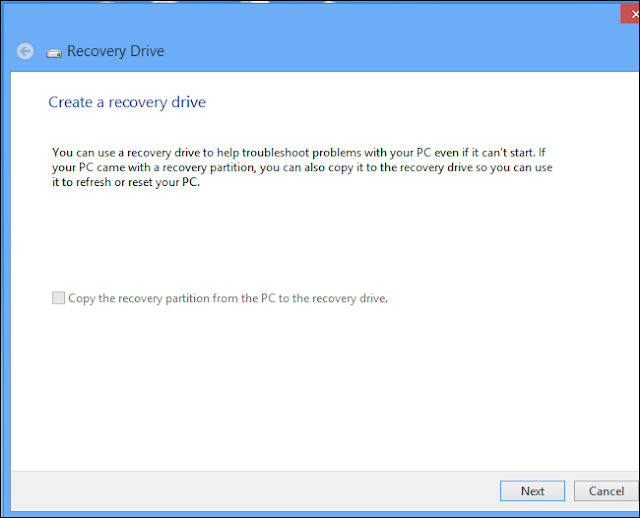 Create a Recovery Drive Options in Windows