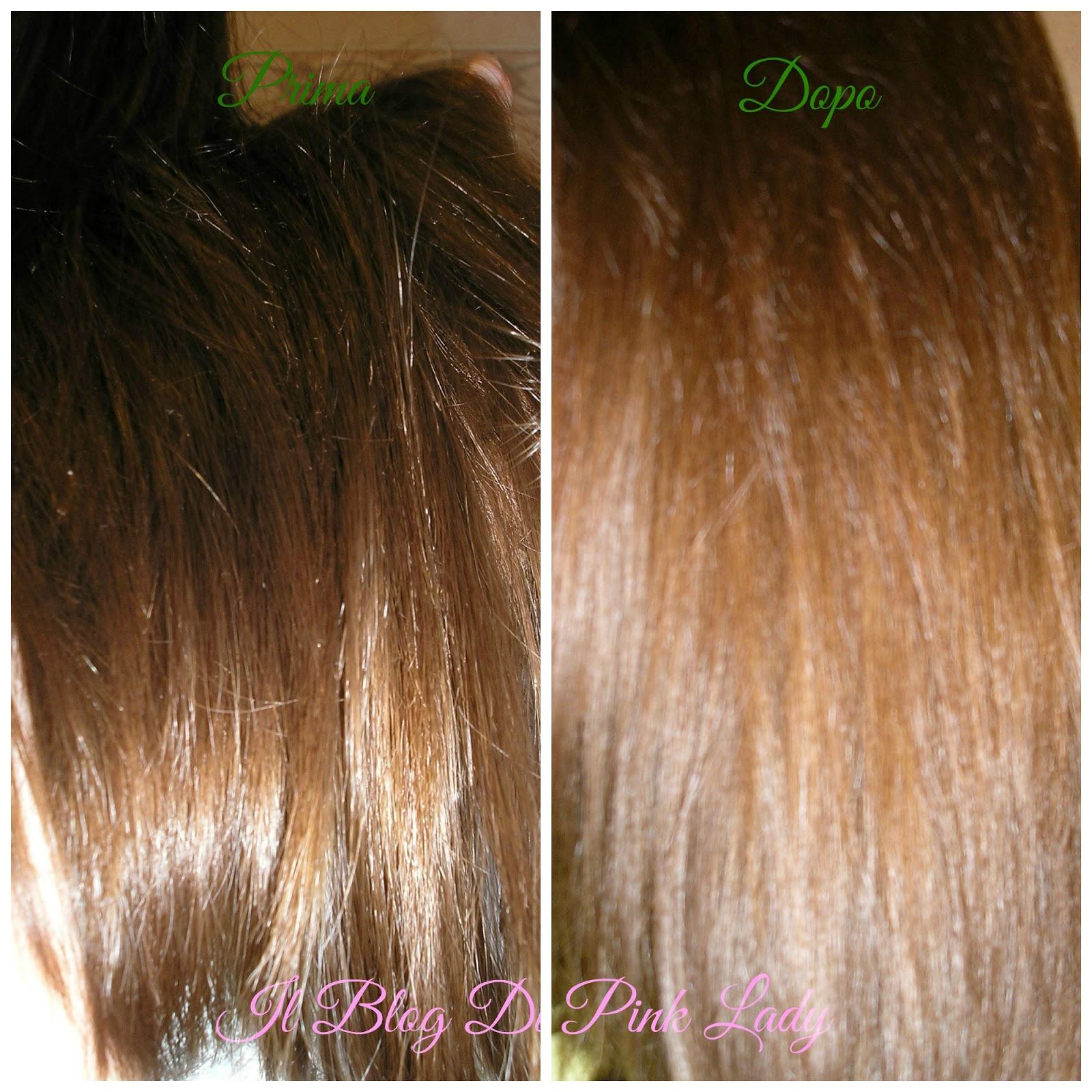 Shampoo colorante biondo su capelli castani