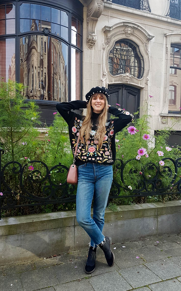 Outfit: embroidered sweater and pearl beret