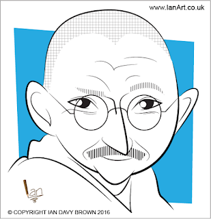 Mahatma Gandhi Caricature by Ian Davy Brown