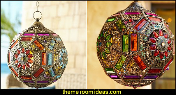 Gem Ball Hanging Lantern   Moroccan decorating ideas - Moroccan decor - Moroccan furniture - decorating Moroccan style - Moroccan themed bedroom decorating ideas - Exotic theme decorating - Sultans Palace - harem style bedrooms Arabian nights Moroccan bedroom furniture - moroccan wall decoration ideas