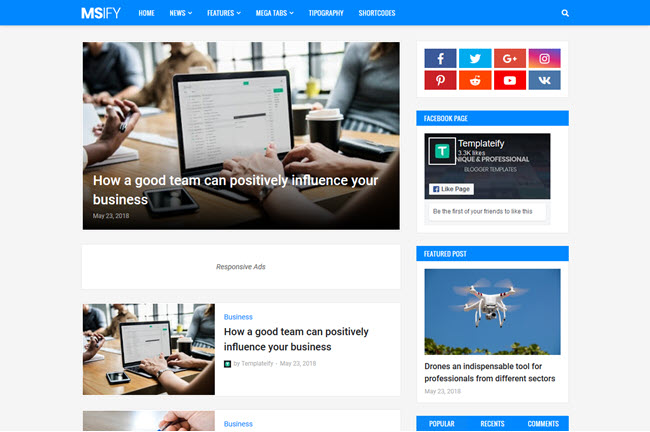 Msify - Responsive Minimal Blogger Template