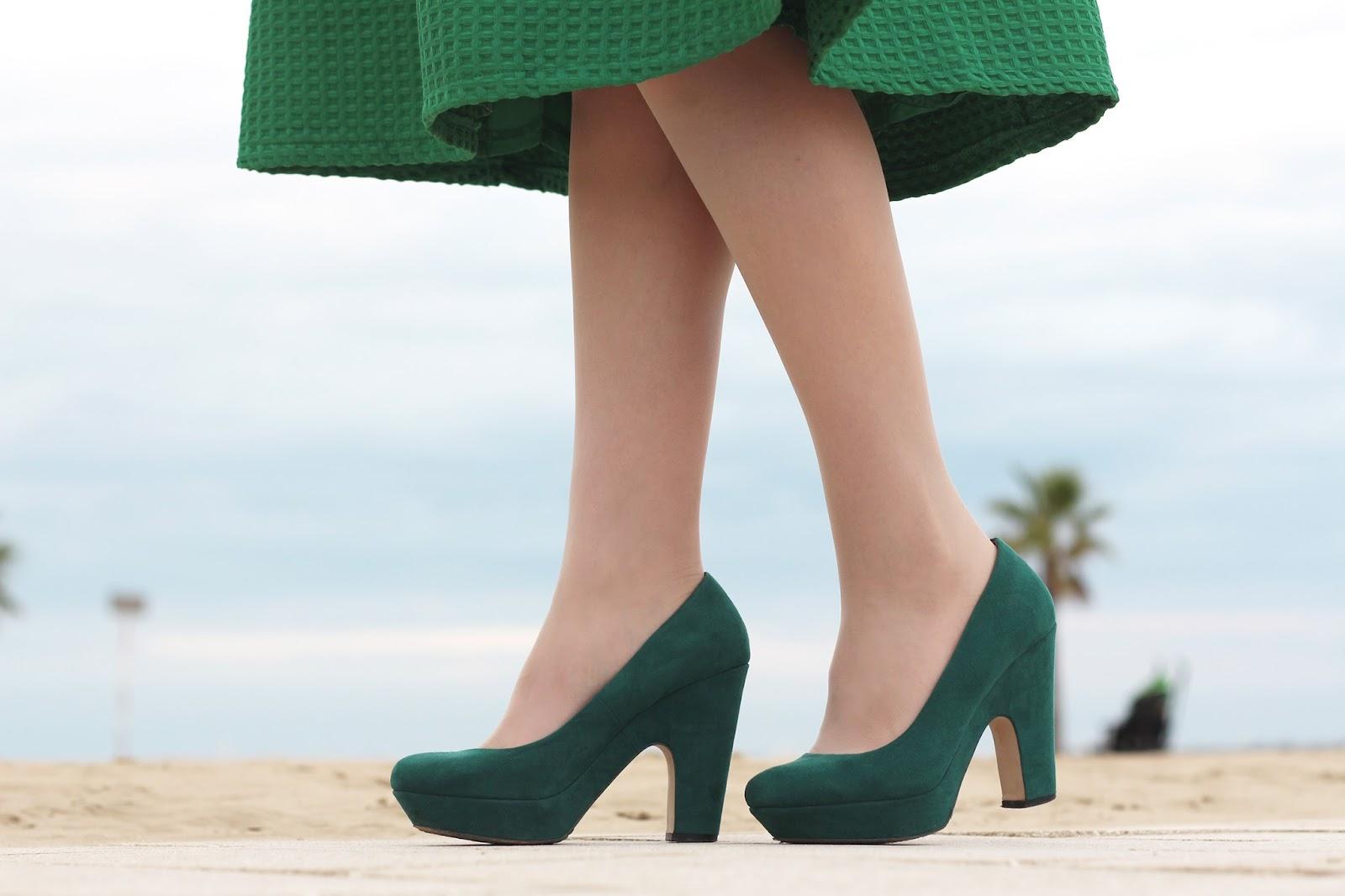 green midi skirt heels bershka pumps shoes