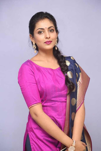 Madhu Shalini Photo Shoot Stills In Violet Punjabi Dress