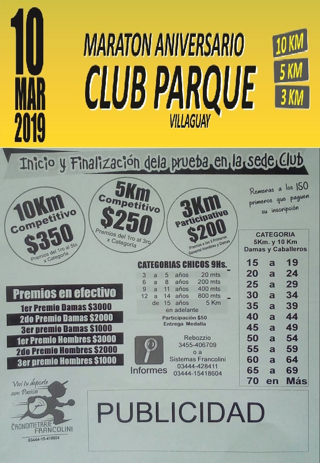 INSCRIBITE AQUI -Maraton Aniv. 82° Club Parque (Villaguay)