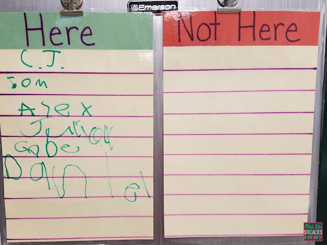 Hanging sign in sheets allow students to practice filling out sign in sheets and writing on vertical surfaces.
