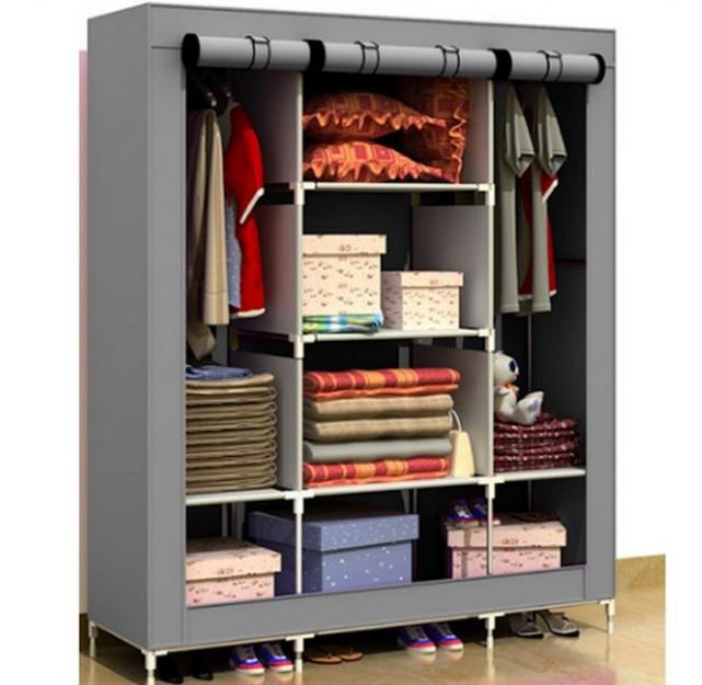 desain lemari pakaian minimalis terbuka untuk kamar ukuran kecil