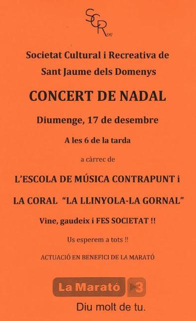 Esguard de Dona - Concert de Nadal a Benefici de La Marató de TV3 a la Societat Cultural i Recreativa de Sant Jaume dels Domenys - Diumenge 17 de desembre  a les 6 de la tarda