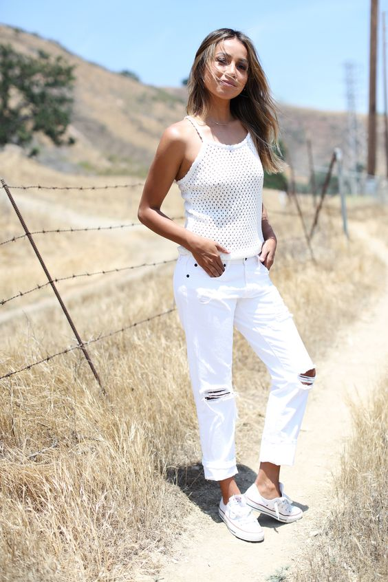 Sincerely Jules - All White Outfit Ripped Jeans Mesh Tank Converse All star sneakers