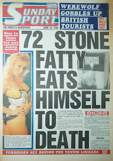 Front cover page of the Sunday Sport newspaper from 19 June 1988