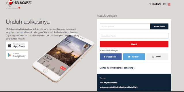 cek kuota telkomsel via website