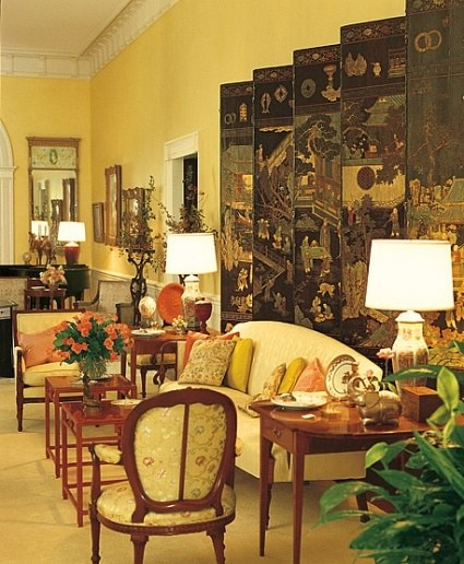 A 17th Century Coromandel Screen Decorated The Antiques Filled Central  Hall. For This And Other Areas, Nancy Reagan Personally Culled Stored  Furniture That ...