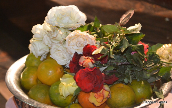 fruits and flowers for diwali puja